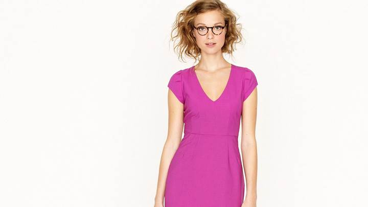 Heloise Guerin In Pink Dress At JC Crew Photoshoot